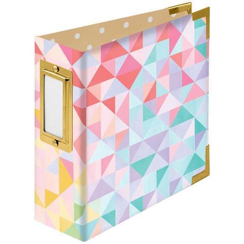 Альбом на кольцах 10х10 см -We R Paper Wrapped D-Ring Album -Geometric By Paige Evans
