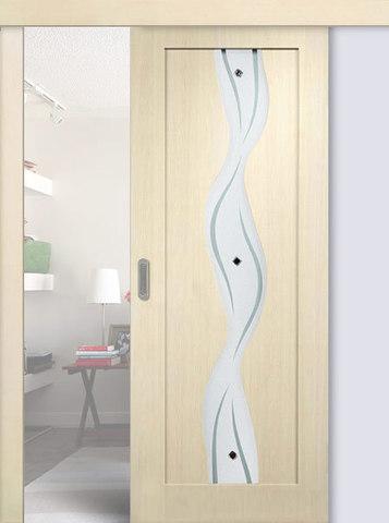 Дверь раздвижная Сибирь Профиль Водопад, цвет беленый дуб, остекленная