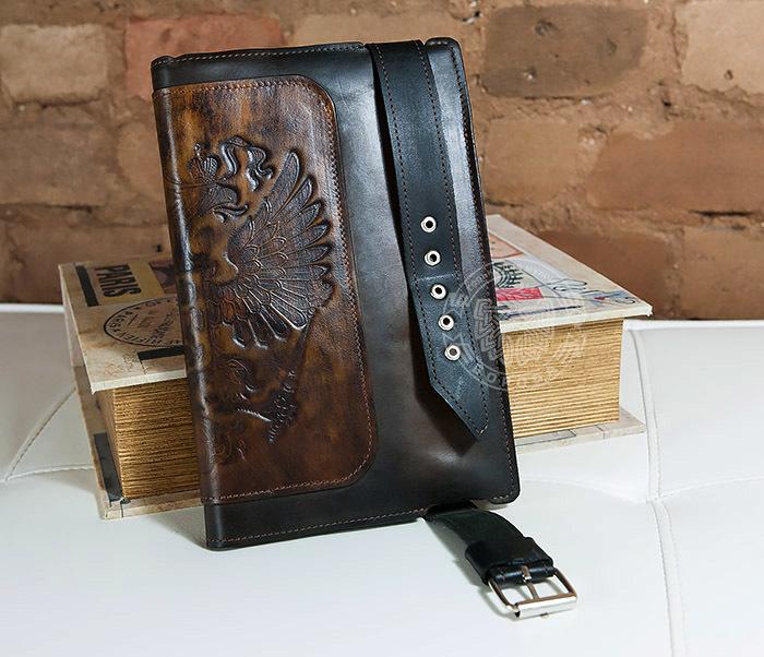BC120-2 Мужской подарочный кожаный ежедневник ручной работы с гербом (А5) фото 04