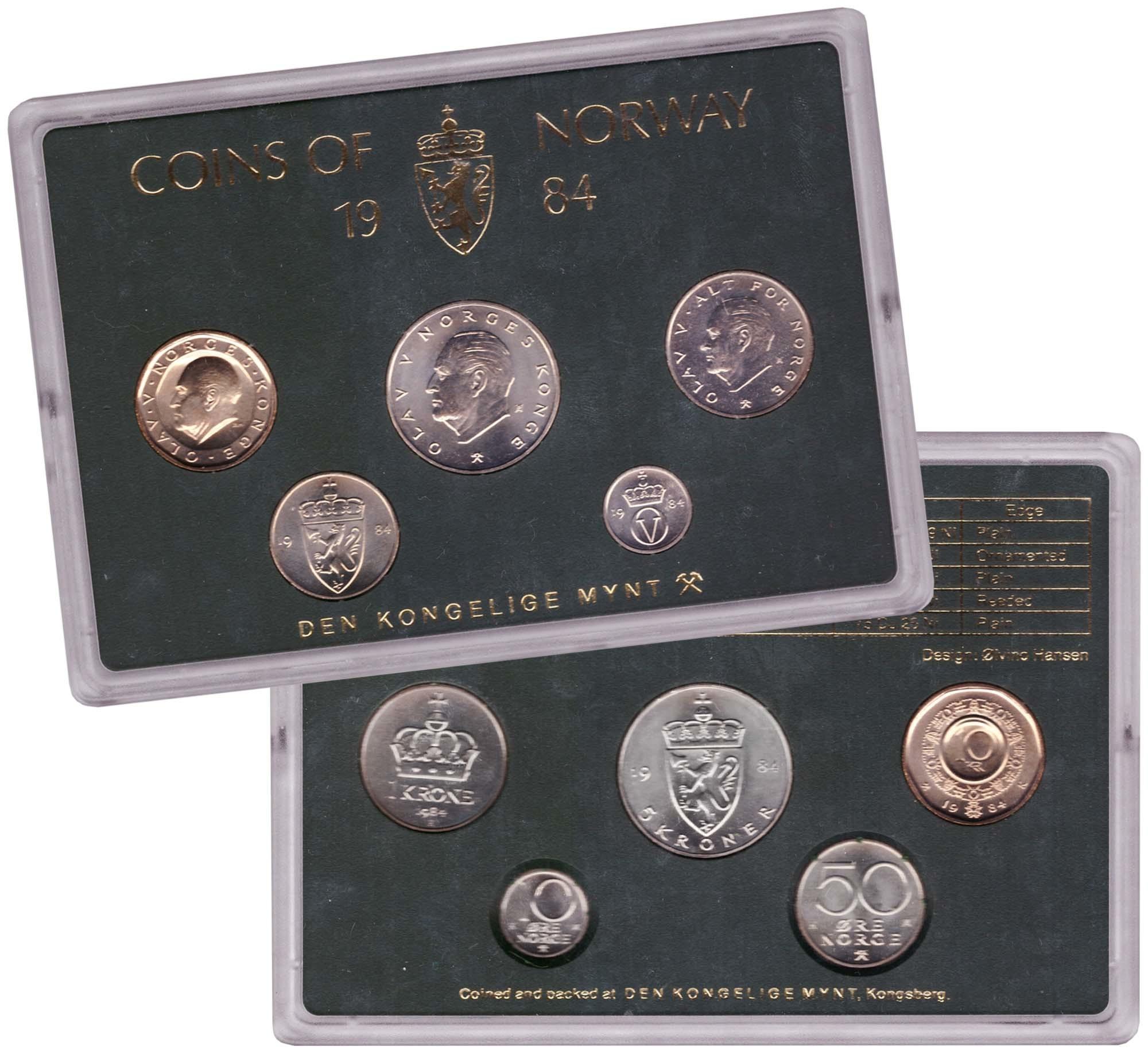 Набор монет Норвегии 1984 UNC в пластиковой упаковке