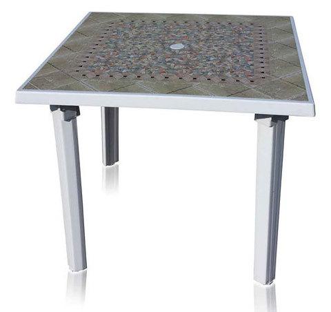 Пластиковый квадратный стол с рисунком белый