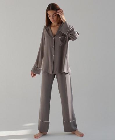 Пижамные брюки широкие серые