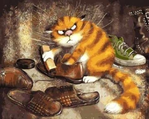 Алмазная Мозаика 30x40 Недовольный кот чистит обувь (Арт. MHZS213 )