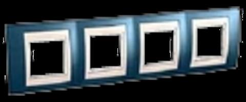 Рамка на 4 поста. Цвет Голубой лёд/белый. Schneider electric Unica Хамелеон. MGU6.008.854