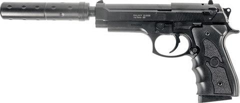 Страйкбольный пистолет Galaxy G.052A Beretta 92 с глушителем пластиковый, пружинный