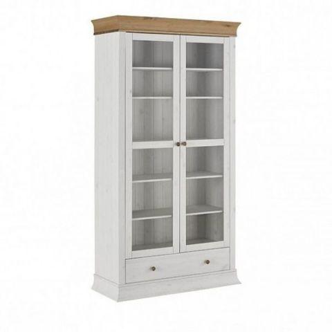 Шкаф с витриной для посуды Бостон 21G (белый воск/антик)