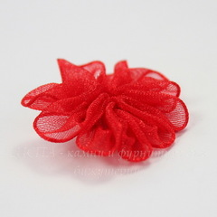 Цветочек красный из органзы 28 мм