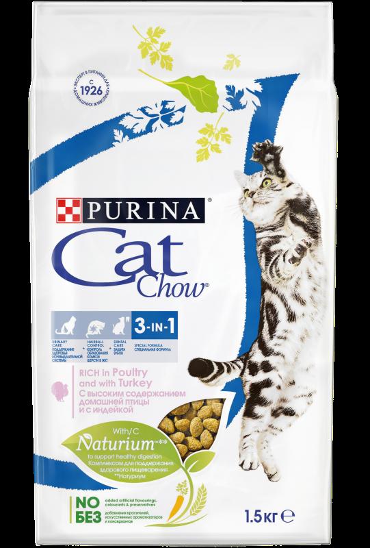 Purina Cat Chow Корм для кошек, Purina Cat Chow Feline 3in1, Тройная защита, с домашней птицей и индейкой Feline.png