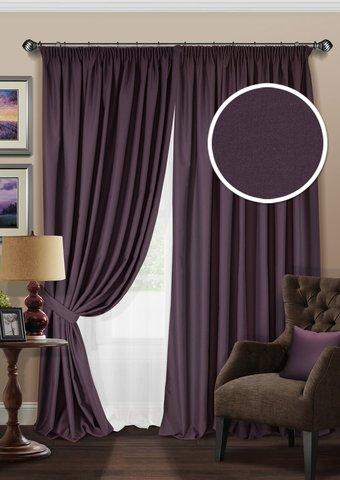 Комплект штор блэкаут с тюлем из полуорганзы Мелисента фиолетовый