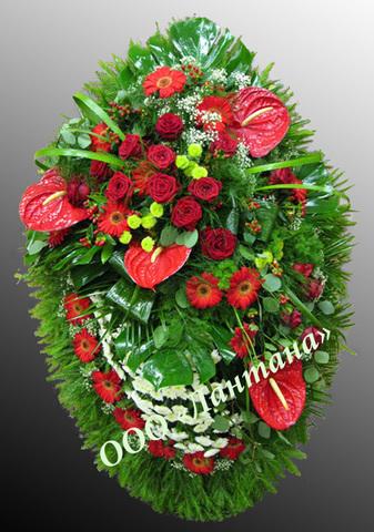 Венок из живых цветов заказной ВЖ-26