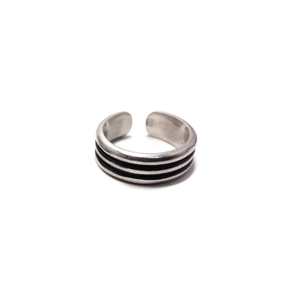 Pair phalanx rings Rock 'n' roll trio, sterling silver