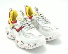 Комбинированные кроссовки на объемной подошве