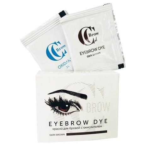 Краска для бровей CC Brow (1 саше с гель-краской, 1 саше с окислителем), (темно-коричневый)