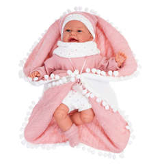 Munecas Antonio Juan Кукла Леонора в розовом, озвученная (детский лепет), 34 см (7047)