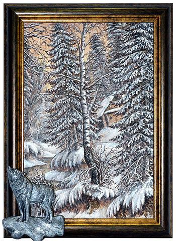 """Картина на бересте """"Волк"""" (пейзаж №17)"""