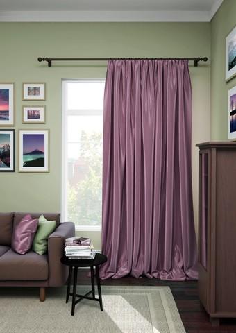 Готовая штора сатен Авери с подхватом фиолетово-сиреневый