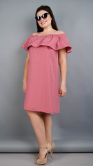 Балі. Модне плаття з воланом великих розмірів. Червона клітинка.