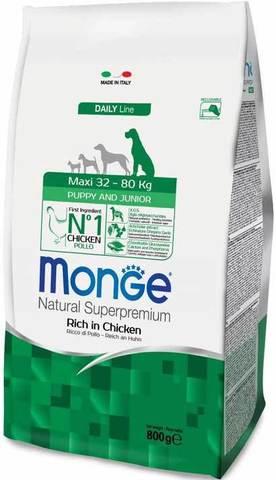 15 кг. MONGE Сухой корм для щенков крупных пород с курицей Dog Maxi Puppy&Junior