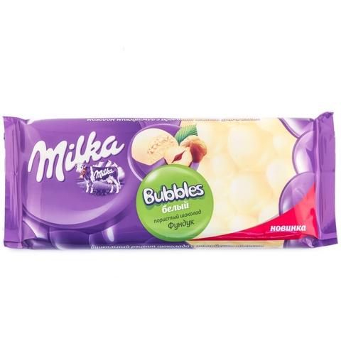 """Шоколад """"Milka"""" белый пористый с фундуком, 83 г"""