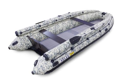 Надувная ПВХ-лодка Солар - 470 Super Jet Tunnel с фальшбортом (пиксель)