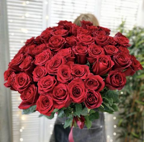 Букет из 51 красной эквадорской розы 90 см #14557