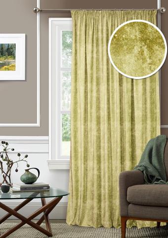 Готовая штора Бархат с подхватом оливковый