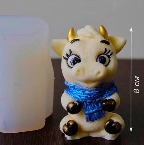 3D БЫЧОК С ШАРФОМ силиконовый молд (80х45мм)