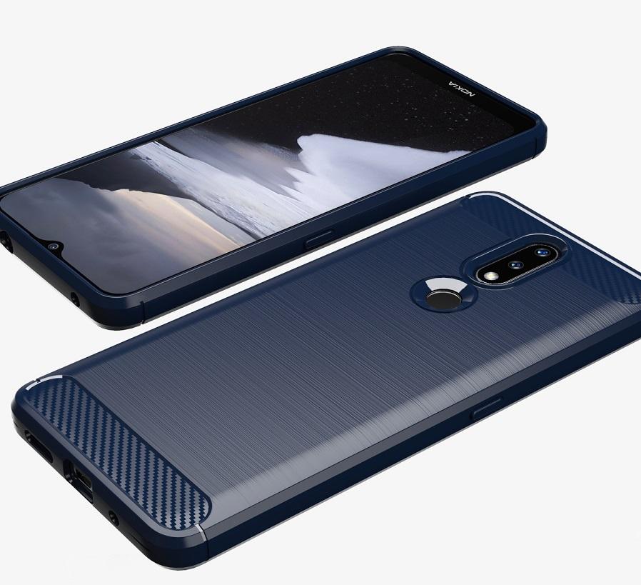 Чехол в стиле карбон синего цвета на Nokia 2.4, серия Carbon от Caseport