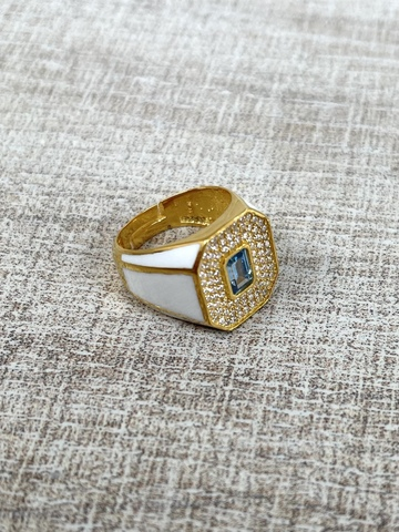 Кольцо Печатка белое, позолота