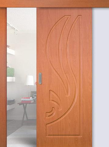Дверь раздвижная Сибирь Профиль Лилия, цвет миланский орех, глухая
