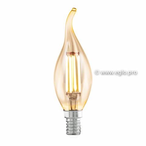 Лампа LED филаментная из стекла янтарного цвета Eglo AMBER LM-LED-E14 4W 220Lm 2200K CF35 11559