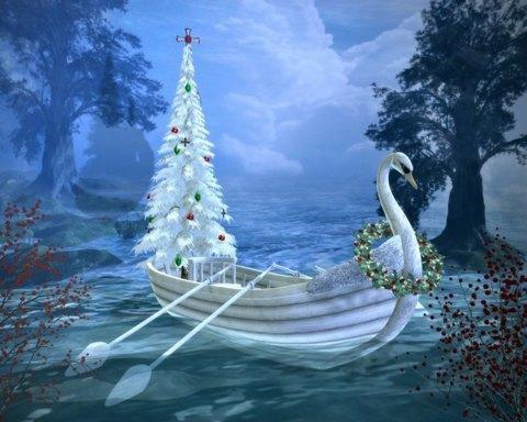 Алмазная Мозаика 40x50 Новогодний сказочный корабль