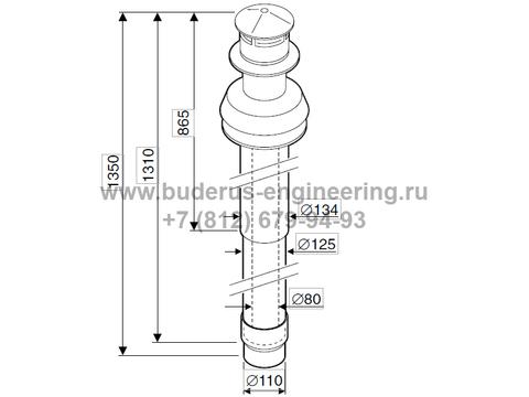 Комплект Дымохода Вертикальный для Buderus Logamax U072