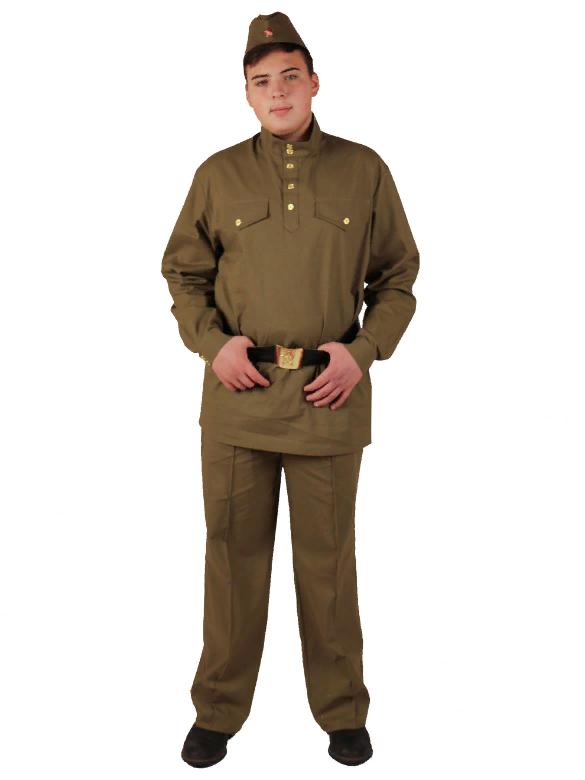 Военный костюм Солдат с прямыми брюками взрослый (хлопок)