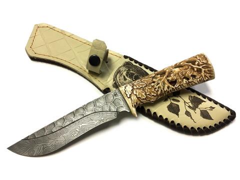 Нож Галеон подарочный, дамасская сталь, кость, Мастерская Семина