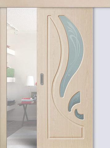 Дверь раздвижная Сибирь Профиль Лилия, цвет беленый дуб, остекленная