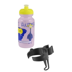 Велобутылка FORCE, ZOO с держателем 0,3л, детский принт, розовая