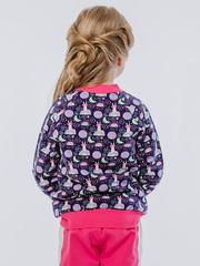 Бомбер для девочки на молнии трикотажный с карманами и воротником купить