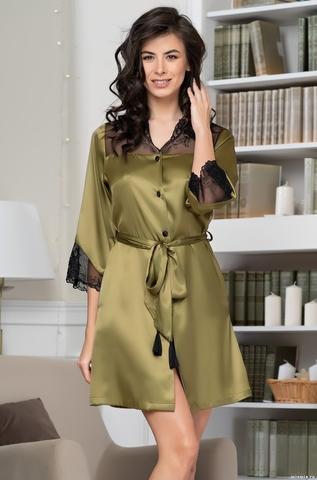 Короткий шелковый халат на пуговицах Olivia (70% нат.шелк)