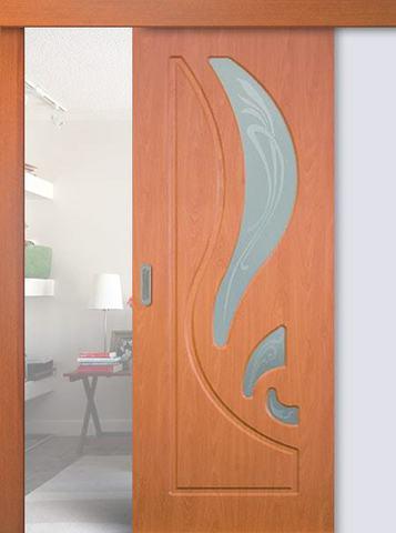 Дверь раздвижная Сибирь Профиль Лилия, цвет миланский орех, остекленная
