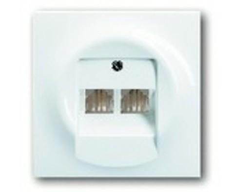 Розетка телефонная двойная TF-2. Цвет Альпийский белый. ABB impuls. 0230-0-0243+1753-0-9004