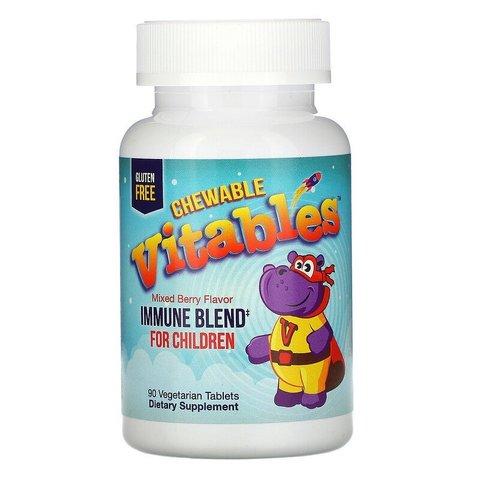 Детская жевательная добавка для укрепления иммунитета, со вкусом ягод 90 вегетарианских таблеток Vitables