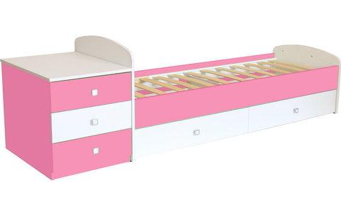 Кровать детская Фея 1400 белый-роза