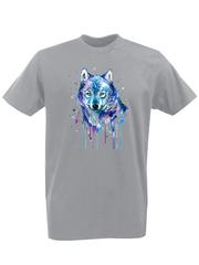Футболка с принтом Волк (Wolf) серая 002