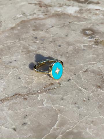 Кольцо Аврора из позолоченного серебра с голубой эмалью
