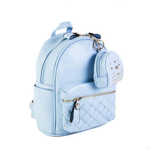 Женский средний рюкзак 20х26х13 см с брелком-кошельком голубой 2968-6