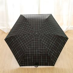 Суперлегкий зонт, ручка крюк, женский, с защитой от УФ, механика, 6 спиц (черный, принт- клетка)
