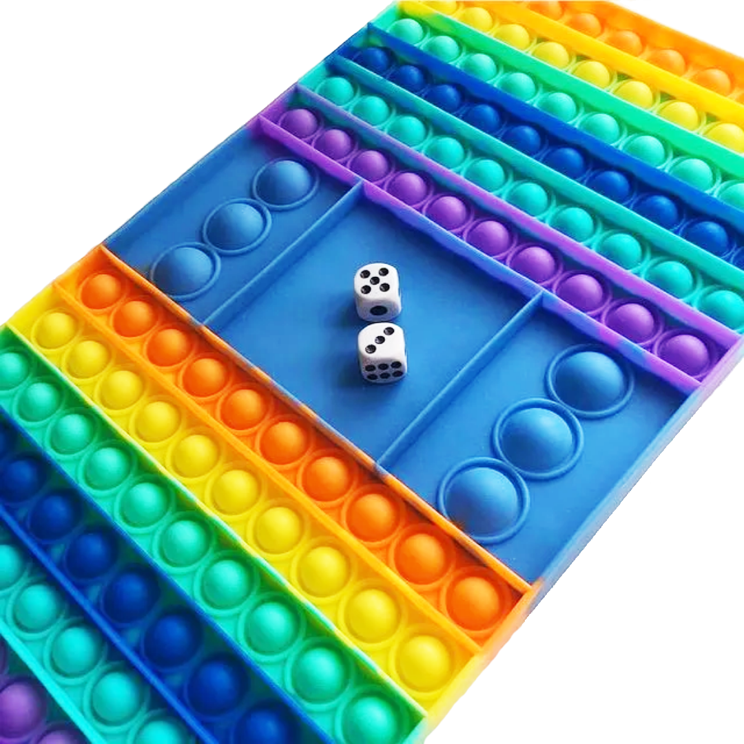 Поп ит Pop it игра с кубиком радужная