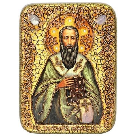 Инкрустированная икона Святитель Василий Великий 20х15см на натуральном дереве в подарочной коробке