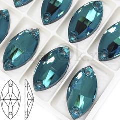 Стразы пришивные стеклянные Dark Aquamarine, Navette